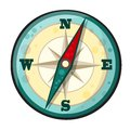 Vector cartoon compass illustration of in style Royalty Free Stock Photo