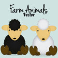 Vector cartoon cute black sheep and white sheep a Stock Photo