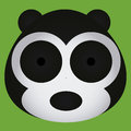 Vector cartoon cute black and white bear face isolated a Stock Photography