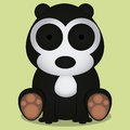 Vector cartoon cute black and white bear sitting isolated a Royalty Free Stock Photo