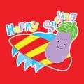 Vector cartoon of cute eggplant is surfing
