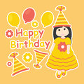 Vector cartoon of cute girl wear orange gown and birthday hat Royalty Free Stock Photo