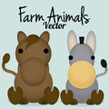 Vector cartoon cute horse and donkey isolated a Royalty Free Stock Image