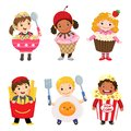 Vector cartoon of cute kids in food costumes set. Carnival cloth