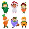 Vector cartoon of cute kids in plant costumes set. Carnival clot