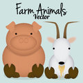 Vector cartoon cute pig and goat isoated a Stock Image