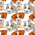 Vector cartoon dog on white. Seamless pattern.