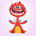 Vector cartoon dragon monster with tiny wings. Red dragon character waving his hands. Furry red dragon illustration Royalty Free Stock Photo