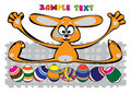 Vector cartoon easter rabbit with eggs isolated on white Stock Photography