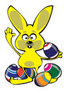 Vector cartoon easter rabbit with eggs isolated on white Royalty Free Stock Image