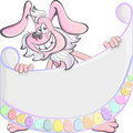 Vector Cartoon Easter Rabbit with poster Royalty Free Stock Photography