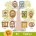 Vector cartoon family tree with images of people in frames