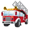 Cartoon of fire department truck Royalty Free Stock Photo