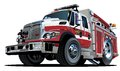 Vector cartoon fire truck hotrod available eps format separated by groups and layers for easy edit Stock Photo