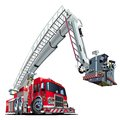 Vector cartoon fire truck hotrod available eps vector format separated groups layers easy edit Royalty Free Stock Image