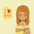 Vector cartoon flat i love you greeting card romantic cute red head girl with bubble for ui web games tablets wallpapers and Stock Images