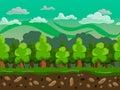 Vector cartoon forest seamless horizontal landscape