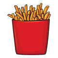 Vector cartoon french fries in red carton Royalty Free Stock Photo
