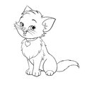 Vector cartoon fun cute kitten line art happy smiling character cat coloring book black and white drawing illustration Stock Images