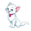 Vector cartoon fun cute white kitten happy