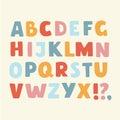 Vector cartoon funny alphabet color