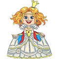 Vector cartoon funny princess with a golden crown fairytale smiling in beautiful luxury dress Stock Photography
