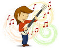 Vector cartoon guitar player with background Royalty Free Stock Images
