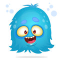 Vector cartoon Halloween monster. Blue furry flying monster isolated
