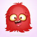 Vector cartoon Halloween monster. Red furry flying monster with big eyes.