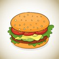 Vector cartoon hamburger icon delicious colorful ilustration Royalty Free Stock Photography