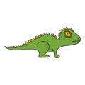 Vector cartoon hand drawn iguana, gecko, lizard