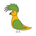 Vector cartoon hand drawn parrot