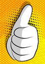 Vector cartoon hand thumbs up sign on comic book background.