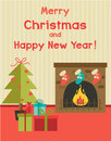 Vector cartoon holiday illustration with fireplace, new year tree and presents under it Royalty Free Stock Photo