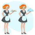 Vector cartoon illustration - Beautiful cute funny girl waitress maid brings the order newspaper