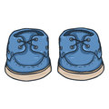 Vector Cartoon Illustration - Blue Topsider Men Shoes
