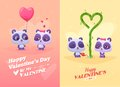 Vector cartoon illustration of couple cute panda idea for greeting card with happy wedding or valentine s day Stock Photo