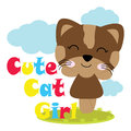 Vector cartoon illustration of cute cat girl on the garden Royalty Free Stock Photo
