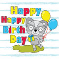 Vector cartoon illustration of cute fox boy brings balloon and box gift suitable for birthday card design Royalty Free Stock Photo