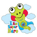 Vector cartoon illustration of cute frog as super hero Royalty Free Stock Photo