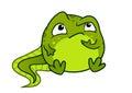 Vector cartoon illustration of cute green baby tadpole frog char Royalty Free Stock Photo