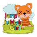 Vector cartoon illustration of cute little fox girl jump so high Royalty Free Stock Photo