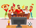 Vector cartoon illustration of a group of friends watching a football match on TV