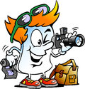 Vector cartoon illustration of a happy editor paper photographer mascot an Stock Photography