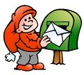 Vector Cartoon illustration of an happy Elf posting a Letter Royalty Free Stock Photo