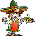 Vector Cartoon illustration of a Happy Mexican standing with some Tarco Food Royalty Free Stock Photo