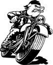 Motorcycle Hawg Cartoon Illustration Royalty Free Stock Photo