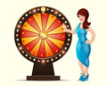 Vector cartoon illustration of a lucky woman turns glowing wheel fortune