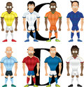 Vector cartoon illustration of soccer players isolated front view Stock Photo