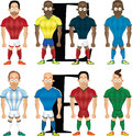 Vector cartoon illustration of soccer players isolated front view Stock Photos
